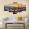 Bangkok Transportation at Dusk with Modern Business Building along the river Thailand Multi panel canvas wall art