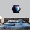 Illuminated face of Earth in space image furnished by NASA hexagonal canvas wall art