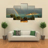 A Rainbow Above A Bay In The Montenegro, After Storm Over The Hills Of Budva, Multi Panel Canvas Wall Art