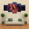 Hot lava stream is flowing into the ocean. Hawaii, Big Island multi panel canvas wall art