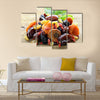 Assorted dry fruits raisins apricots figs prunes goji cranberries on a wooden background, Multi panel canvas wall art
