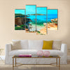 Azure Window, a famous stone arch of Gozo island in the sun in summer, Malta Multi Panel Canvas Wall Art