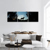 Picture of a wolf dog at dusk panoramic canvas wall art