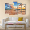 Beautiful cloudscape over Caribbean sea, sunrise shot Multi Panel Canvas Wall Art