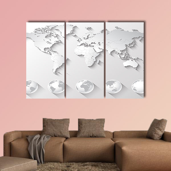 A high quality world map in tones of grey with a cool flat shaded Shadow multi panel canvas wall art