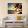 Palm tree on the tropical beach, sunrise shot Multi panel canvas wall art