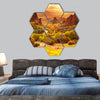 Meteora monasteries in Greece hexagonal canvas wall art