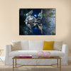 Alien Spaceship With Spherical Drone Leaving Earth For Deep Space Travel Scenery Multi Panel Canvas Wall Art