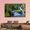Beautiful waterfall in tropical rainforest in Hawaii Multi panel canvas wall art