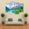 Beautiful view Azure mountain lake on the background of the high peaks of the Alps, Zillertal, Austria multi panel canvas wall art