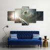 Scenery Of A Cosmic Cloud of Earth, Saturn And Jupiter Multi Panel Canvas Wall Art