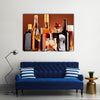 Bottles and glasses of assorted alcoholic beverages Multi panel canvas wall art