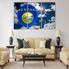 Balloon in colors of montana flag flying on blue sky Multi panel canvas wall art