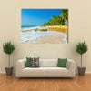 Amazing view of exotic sandy beach with high palm trees Multi panel canvas wall art