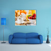 Breakfast with assortment of pastries, coffees and fresh strawberries Multi panel canvas wall art