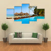 A Pool On The Tropical Maldives Island, Multi Panel Canvas Wall Art
