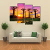 Beautiful Baobab Trees At Sunset In The Avenue Of The Baobabs In Madagascar, Multi Panel Canvas Wall Art