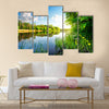 Trees by calm river in the morning Multi Panel Canvas Wall Art