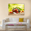 Vegetables on wood Multi panel canvas wall art