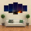 Erupting volcano in Hawaii Volcanoes National Park, Big Island, Hawaii multi panel canvas wall art