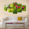 Hummingbird (archilochus colubris) in flight with tropical flower Multi panel canvas wall art