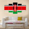 2D Vector Illustration of the Flag of Kenya Multi Panel Canvas Wall Art