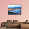 Puerto de Mazarron illuminated at dusk, Spain multi panel canvas wall art