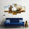 View Of A Soldier Looking At The Destroyed City Multi Panel Canvas Wall Art