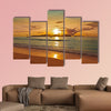 Sunset on tropical beach - Seychelles - nature background Multi panel canvas wall art