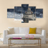 The military ship on sea against heavy clouds Multi Panel Canvas Wall Art