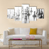 Black and white conceptual photo of wrapped money multi panel canvas wall art