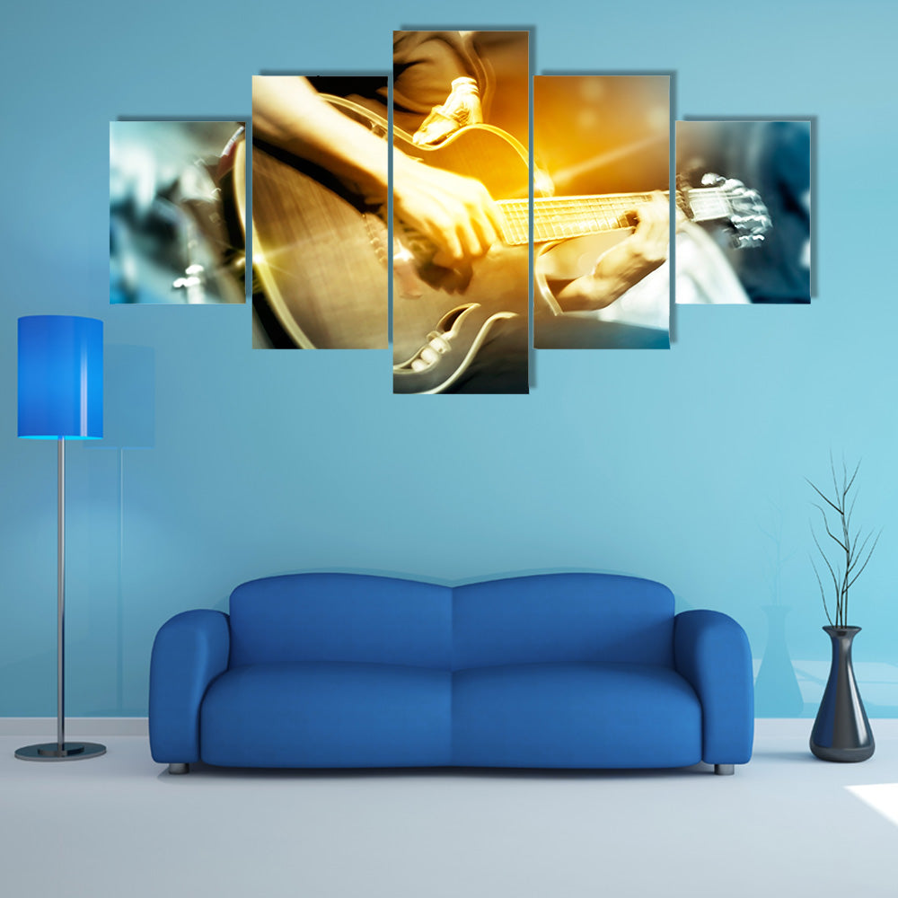 Guitarist on Stage for Background, Vibrant Soft and Motion Blur Concept Multi Canvas Print Wall Art