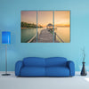 Wooden pier between sunset in Phuket, Thailand multi panel canvas wall art