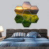 Mountain valley during sunrise, Natural landscape hexagonal canvas wall art