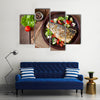 Baked seabass with Greek salad Multi panel canvas wall art
