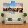View Of Rainbow over Water And Bridge Multi Panel Canvas all Art Print Set