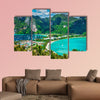 Tropical beach Cote d'Or at sunset, Seychelles multi panel canvas wall art