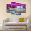 Waterfall in rain forest (Tat Kuang Si Waterfalls at Luang prabang, Laos.) Multi Panel Canvas Wall Art