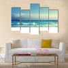 Seychelles beach in sunset time Multi panel canvas wall art