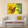 Monarch on a Sunflower Multi Panel Canvas Wall Art
