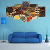 Aromatic spices in metal and ceramic bowls Multi panel canvas wall art