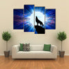 The vector illustration: Wolf howling at the moon multi panel canvas wall art
