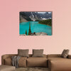 Loraine Lake, Blue Lake with mighty mountains multi panel canvas wall art