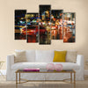 Digital painting of city street at night with colorful lights Multi Panel Canvas Wall Art