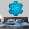 Brain with circuit board texture hexagonal canvas wall art