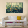 Cityscape painting of urban sky-scrapers at sunset Multi Panel Canvas Wall Art