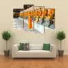 Monks At Temple In Thailand, Multi Panel Canvas Wall Art