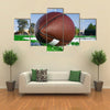 American football on find with goal posts Multi panel canvas wall art