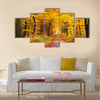 Road in the autumn forest Multi panel canvas wall art