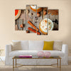 Ice honey pumpkin spice latte with whipped cream Multi Panel Canvas Wall Art